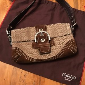 COACH Signature Logo Rich Brown and Suede, RARE